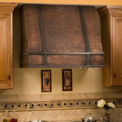 "36"" Limoges Series Copper Wall-Mount Range Hood - Olde World craftsmanship meets modern efficiency in the 36"" Limoges Series Tall Copper Wall-Mount Range Hood. The hammered copper texture and bands add style to any kitchen."