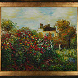 overstockArt.com - Monet - The Artist's Garden - Hand painted oil reproduction of a famous Monet painting, The Artist's Garden. Today it has been carefully recreated detail-by-detail, color-by-color to near perfection. Why settle for a print when you can add sophistication to your rooms with a beautiful fine gallery reproduction oil painting? While Monet successfully captured life's reality in many of his works, his aim was to analyze the ever-changing nature of color and light. Known as the classic Impressionist, Monet cannot help but inspire deep admiration for his talent in those who view his work. This work of art has the same emotions and beauty as the original. Why not grace your home with this reproduced masterpiece? It is sure to bring many admirers!
