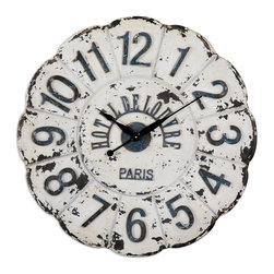 Uttermost - Uttermost De Louvre White Wall Clock 06651 - Heavily distressed aged ivory with rust black undertones and details. Quartz movement.