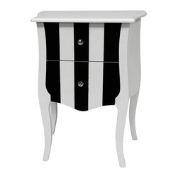 Oriental Furniture - Black and White Two Drawer Cabinet - Sturdy two-drawer cabinet, with a high-contrast black and white stripe pattern. Solid craftsmanship of the two curved drawers, which open with cut-glass crystal pulls. Great alone as an accent, with a vase or statue, or as a pair of lamp tables beside a bed or sofa. Pair with a matching cabinet for a dramatic room redesign.