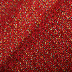 Carnival Chenille Upholstery Fabric in Cardinal - Carnival Designer Chenille Bright Red Upholstery Fabric in Cardinal Red. A colorful cotton blend perfect for upholstering seats, chairs, or benches.