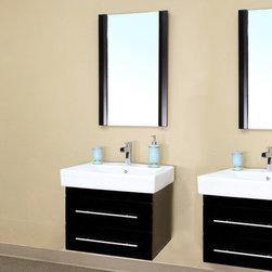 Bellaterrra - Bellaterra 203102 48.5 In Double Wall Mount Style Sink Vanity-Wood-Black - 48.5x - Bellaterra 203102 48.5 In Double Wall Mount Style Sink Vanity-Wood-Black  - 48.5x18.9x20 in.