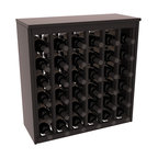 Wine Racks America - 36 Bottle Deluxe Wine Rack in Premium Redwood, Black Stain + Satin Finish - Great start or addition to wine rack furniture, this wooden wine rack is designed to look like a freestanding wine cabinet. Solid top and side enclosures promote the cool and dark storage area necessary for aging your wine properly. Your satisfaction and our racks are guaranteed.