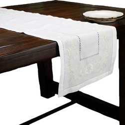 Xia Home Fashions - Florals Embroidered Table Runner 15In by 54In - Clean and classic, these hemstitch linens feature tone-on-tone embroidered florals an a linen back cloth.
