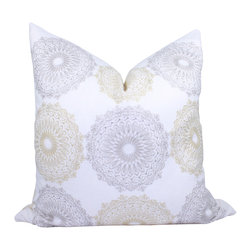 PillowFever. - Embroidered Linen Pillow Cover in Silver Grey and Golden Yellow. - This beautiful high end pillow cover has beautiful  embroidery in silver grey and golden yellow thread on off white background.