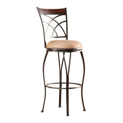 Holly and Martin - Ashbourne Swivel Bar Stool - Complement your home with contemporary convenience. The intersected arcs and curved legs of this bar stool create a smart and refined look.