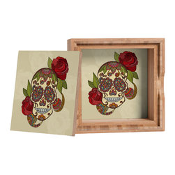 DENY Designs - Valentina Ramos Sugar Skull Storage Box - Love yourself a knickknack or two (or three)? Well, then this is the box for you! The Amber Bamboo wooden Storage Box is available in two sizes with a printed exterior lid and interior bottom. So, you can still be a collector of sorts, but now you've got an organized home for it all. 100% sustainable, eco-friendly flat grain amber bamboo wood box with printed glossy exterior lid and interior bottom. Custom made in the USA for every order.