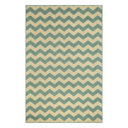 """Trans-Ocean - Zig Zag Ocean 23"""" x 7'6"""" Indoor/Outdoor Flatweave Rug - Amazingly detailed pattern and beautifully blended yarns make this Machine Made rug rise above the rest. Wilton Woven in India of 100% Polypropylene and UV stabilized for Indoor or Outdoor use. A tight weave of Polypropylene allows for maximum design and textural appeal, and creates the look of natural fibers but is easy care."""