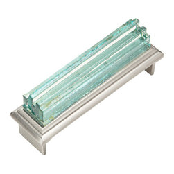 "Jazz & Riffs Hardware - Jazz - Cup Pulls, Perfect Pink, 3"" Length - Recycled layered glass sparkles and shines with pure, clear color – harmonizing and moving, yet composed. Add the sparkle of jewelry to your next interior project. This distinctive hardware line was created for Hospitality Interiors, yet is perfect for fine furniture, cabinets and doors in restaurants, spas, hotels and high-end residential spaces. Due to the Artisan nature of this handmade process – every piece of hardware is unique."