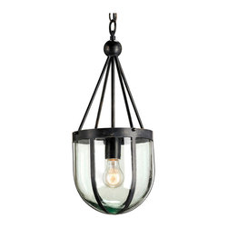 "Kathy Kuo Home - Clarence Distressed Black Industrial Recycled Blown Glass Pendant - An edgy, institutional feeling is created by the wrought iron and glass ""cage"" which surrounds a single hanging light bulb.  Industrial and edgy, this piece has plenty of interest and style."