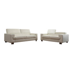 Homelegance - Homelegance Vernon 2-Piece Living Room Set in White Leather - With defined angles that exemplify contemporary design, the Vernon collection will blend effortlessly into your modern home. Metal legs support the bonded leather seating group while also enhancing the look of the collection. The headrests atop each piece add function to this already unique group. The collection is offered in black or white bonded leather.