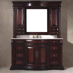 """James Martin Furniture - Egwene 60"""" Bathroom Vanity with Sink and Mirror - There are a lot of factors going into making top quality furniture. Here at James Martin we follow all the latest technological advances to make sure we give you the highest quality product at a best possible price. Please read below what makes our furniture one of the best in the industry today. Bathroom items are one of the most challenging pieces of furniture produced today. Elevated humidity levels, and heavy use, command use of very best materials and most advanced finishing techniques available today. Vanity tops: All vanities feature natural stone tops only. Whether is marble, or granite, you can depend on its natural beauty and durability. In addition, all of our tops are sealed to prevent watermarks or common stains. Wood: All of our vanities use Kiln-dried selected hardwoods. All wood is properly dried to prevent warping and cracking. Inner construction: All of our wooden vanities use framed type construction. This ensures stability and unsurpassed durability for many years to come. We do not produce knock down or flat pack type of cabinets that are joined with bolts and staples. Finish: All of our vanities have properly sealed finish to prevent peeling and fading in elevated humidity levels. Features: -Bathroom vanity with sink and mirror. -Egwene collection. -Antique cherry finish. -Select birch solids and solid catalpa veneers construction. -Vanity has two doors for large storage. -Hutch has four drawers for storage. -Hutch has two doors for large storage. -Hutch has lights. -Vanity drawers use full metal drawer glides. -Vanity has eight drawers for storage. -Manufacturer provides one year warranty for manufacturing defects. Specifications: -Overall dimensions: 36"""" H x 61.75"""" W x 22"""" D."""