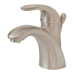 "Pfister - Pfister GT42-AMCK Brushed Nickel Parisa Parisa Single Hole Bathroom - Parisa Single Hole Bathroom Sink Faucet Low LeadPfisterÂ's Parisa collection of kitchen and bathroom faucets can help bring a sleek contemporary look to any home. European-inspired design elements highlight this thorough family. The kitchen faucets boast single handle control and pullout spray capabilities. Add an optional sidespray and soap dispenser and this is a very complete kitchen fixture.The Parisa collectionÂ's bathroom faucet also features single handle controls and the look is carried through to the shower area. Tub and shower fixtures and Roman tub fillers help to round out the room, and a host of bathroom accessories include tissue holders, towel bars, and towel rings. Available in two finish options.All brass faucet body construction - Weight: 6.47 LBSSingle hole installation1 metal lever handle includedADA compliantEscutcheon (cover plate) for existing three hole installations is includedIndustry leading, lifetime ceramic disc valvePop up drain and assembly includedOverall height: 7.0625"" (measured from counter top to highest point of faucet)Spout height: 3.4375"" (measured from counter top to spout outlet)Spout reach: 4.4375"" (measured from center of faucet base to center of spout outlet)2.2 gallon-per-minute flow rateInstalls onto decks (counter tops) up to 2.5"" thickLow lead compliant - complies with CA and VT low-lead requirements for plumbing productsDesigned for use with standard US plumbing connectionsAll necessary mounting hardware includedInstalls with or without deckplateFully covered under Pfister s Pforever Lifetime WarrantyAbout PfisterFounded in 1910, Pfister (previously known as Price Pfister) is one of AmericaÂ's oldest and most experienced plumbing companies. As the first faucet manufacturer in the world to offer a lifetime warr"