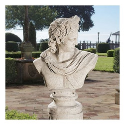 Design Toscano Apollo Belvedere Sculptural Bust - Bust Only - About Design Toscano:Design Toscano is the country's premier source for statues and other historical and antique replicas, which are available through the company's catalog and website. Design Toscano's founders, Michael and Marilyn Stopka, created Design Toscano in 1990. While on a trip to Paris, the Stopkas first saw the marvelous carvings of gargoyles and water spouts at the Notre Dame Cathedral. Inspired by the beauty and mystery of these pieces, they decided to introduce the world of medieval gargoyles to America in 1993. On a later trip to Albi, France, the Stopkas had the pleasure of being exposed to the world of Jacquard tapestries that they added quickly to the growing catalog. Since then, the company's product line has grown to include Egyptian, Medieval and other period pieces that are now among the current favorites of Design Toscano customers, along with an extensive collection of garden fountains, statuary, authentic canvas replicas of oil painting masterpieces, and other antique art reproductions. At Design Toscano, attention to detail is important. Travel directly to the source for all historical replicas ensures brilliant design.
