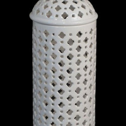 Home Decorators Collection - Carthage Pierced Lantern - This artistically-crafted ceramic lantern provides a soft glow of light that illuminates any room. The pierced design adds style and the cutwork pattern will bring texture and character to your room's decor. Available in multiple sizes, you can place them strategically all around a room for just the right amount of light and beauty. Order them today. Crafted of ceramic. Add years of beauty to your home.