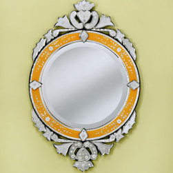 """Venetian Gems - Lirio Venetian Mirror - Features: -Mirror. -Wall mount. -Newly made venetian mirrors are more readily available, easier on the budget. -Have the original charm and beauty of 16th and 17th century styles. -Uses old techniques copied from Venice, Italy. -The mirror is hand etched, cut, beveled, and polished. -Each hand-cut mirror piece is assembled separately and attached to the wood backing with a tiny screw and rosette cover, making the mirror unique in that each piece can be replaced if necessary. -The mirror also comes with a hanger for easy wall hanging. -Overall dimensions: 35"""" H x 22"""" W."""