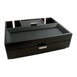 Proman Products - Proman Products Monarch Dresser Valet in Dark Mahogany - Proman Products - Jewelry Boxes - DV16651 - This valet is a practical and stylish addition to any dresser. It has a classy black leatherette tray top and pull out drawer with compartments for personal items such as jewelry coins and accesories. There are two back slits allowing charger cords to go through. Beautiful and highly functional. It makes the perfect gift!