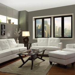 Hurley White Bonded Leather Living Room Set 50356 - Comprised of a sofa, loveseat, chair and ottoman, this transitional styled living room collection will create a contemporary vibe in any family home.The collection is available in two colors: White and Black.