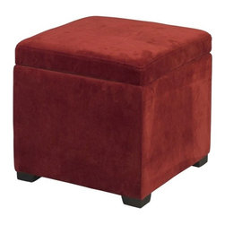 Linon - Linon Judith Upholstered Ottoman with Jewelry Storage in Red - Linon - Ottomans - 40520RED01AS - The Red Judith Ottoman is ideal for added bedroom or closet storage. The ottoman features a plush cushioned top and a red microfiber upholstered exterior. Once the lid is lifted ample interior storage space is revealed. A single black jewelry tray inset lifts out allowing you to keep your jewels stored out of sight.