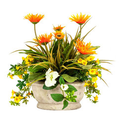 Orange Gerbera Daisy with Petunia Arrangement