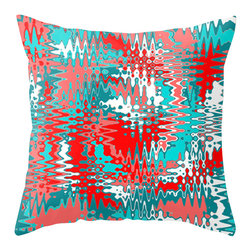 Crash Pad Designs - Modern Outdoor Pillow, Outdoor Pillow,   Red and Turquoise Outdoor Pillow - Perfect in any outdoor setting. Double sided print . Fabric is a waterproof and mildew proof polyester.