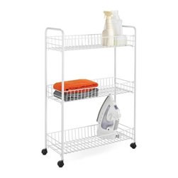 3-Tier Laundry Cart, White - Dimensions:  23.23 in l x 7.87 in w x 31.3 in h (59 cm l x 20 cm w x 79.5 cm h)