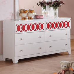 "Coaster - Madeline Dresser, White/Red/Orange/Blue - The Madeline youth collection will help you create a bright and airy look in the youth bedroom in your home. Colorful top panels against the matte white finish on each piece helps to create a fun space to sleep, play or relax. Spacious storage in each piece make this a functional group too, completed with simple silver knobs for a timeless style. For a fun space that everyone will love, add the Madeline youth collection to your home.; Transitional Style; Finish/Color: White/Red/Orange/Blue; Box Spring/Foundation Required; Dimensions: 54""L x 17.75""W x 32""H"