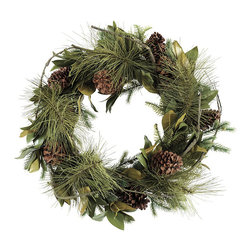 Ballard Designs - Pine & Magnolia Wreath - Extra full for a lush look. Coordinates with our Pine & Magnolia Garland. The blending of hand crafted magnolia, pine boughs and real pinecones give this everlasting greenery a natural, unstructured look. Add your own berries for a pop of holiday red color or tuck it with any of our Holiday Branches for a festive look. Pine & Magnolia Wreath features: . Coordinates with our Pine & Magnolia Garland.