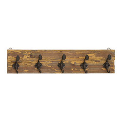 Benzara - Wood Wall Hooks Weathered Brown Finish 5 Hooks Home Decor - Traditional wood wall hooks in weathered brown finish with 5 hooks for hanging coats and accessories home decor