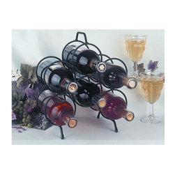 J&J Wire - 11 in. Six Bottles Wine Holder - Wine and glasses are not included. Heavy rod construction. Welded fabrication. Free standing. Easy to carry with handle at top. Made from sturdy wrought iron. Black powder coated finish. Made in USA. No assembly required. 11 in. W x 5 in. D x 13 in. H (2 lbs.)The free-standing six bottle wine rack is made of heavy iron construction. To prevent scratching of surfaces, rubber tabs are fastened to the bottom of the legs. Moving the holder and wine is convenient with a handle at the top. The sturdy iron is cured under heat to provide a durable black powder-coated textured finish.