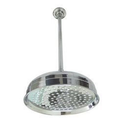 "Kingston Brass - Kingston Brass K225K21 Polished Chrome Victorian Victorian 10"" Rain - 10"" Rain Showerhead with 169 Jets, 17"" Reach Rain Shower Arm from the Victorian CollectionKingston BrassÂ' primary mission is to become the leading provider of cost effective, high quality products in the plumbing community. Their focus has made them grow by leaps and bounds in just a few years by identifying the key problems in manufacturing today and solving them. Kingston Brass produces high quality products ranging from kitchen, bath, and lavatory faucets to accessories such as diverters, towel bars, robe hooks, supply lines, and miscellaneous parts. With the low price, amazing stock times and quality products, you can rest assured that when you order a Kingston Brass product you will love every part of the experience, and it will last for generations to come.Features:Coordinates well with Contemporary / Modern themeBrass construction169 water channels17"" long ceiling supplySpecifications: Height: 7""Showerhead Width: 10"""