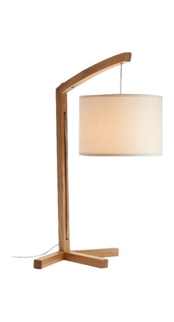 ParrotUncle - Modern Wooden Table Lamps with Fabric Lantern Shade Large - This splendid accent lamp tastefully merges a traditional wooden base with a modern shade. The end result is a wonderfully unique accent lamp you'll be proud to display in your home.
