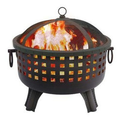 "Landmann - Garden Lights Savannah Steel Fire Pit - Garden Lights This Savannah Fire Pit provides a 360 degree view of the fire.  It features stylish square cutouts which create an incredible ambiance at night and a large 23.5"" fire bowl.  Its sturdy steel construction is designed for easy assembly and its four decorative legs provide sturdy support.  Decorative ring handles make for easy transport.  Comes with decorative spark screen and poker.  Measures 28.5""x25""x24.25"".  Weighs 22 lbs.  Burn Surface Area: 415 sq. in."