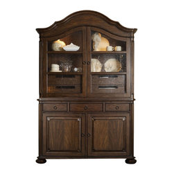 Hooker Furniture - Two-Door Hutch and Server - Downton Abby has nothing on you! Put the spotlight on your favorite crystal or collectibles in this traditional lighted hutch. There's plenty of room for linens and silver in the drawers and behind the bottom two doors.