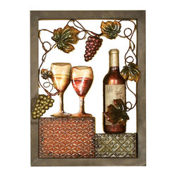 Welcome Home Accents - Vino Wall Decor - Vino wall decor full of texture, warmth and character  is perfect for brightening up any room. This hand painted cut out 3-D metal wall art features bold, rich colors of  reds and green colors while still letting your wall color show through. Features a wine bottle, wine glass grapes along with grapes and leaves that draw the eye throughout the wall decor. Perfect for any wine lover.  Hooks on back for easy hanging.