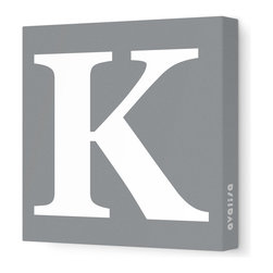"""Avalisa - Letter - Upper Case 'K' Stretched Wall Art, 12"""" x 12"""", Gray - Spell it out loud. These uppercase letters on stretched canvas would look wonderful in a nursery touting your little one's name, but don't stop there; they could work most anywhere in the home you'd like to add some playful text to the walls. Mix and match colors for a truly fun feel or stick to one color for a more uniform look."""