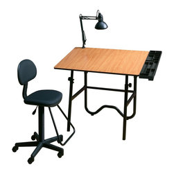 Alvin and Company - Creative Center - Black Base Woodgrain Top - Create the ideal studio or office with this stylish creative center, featuring a drawing table with an adjustable wood grain finished top and a tubular steel base finished in black. The set also includes an adjustable chair, a swing arm task light and a compartmentalized plastic storage tray for tools. This product CANNOT be shipped to California. Sophisticated woodgrain & black drafting-height table combination not only looks great, but will service all your creative needs. Fold-away design for convenient storage. Includes:Drawing table:. Black base with reversible 30 in. x 42 in. tabletop - white Melamine® on 1 side, cherry woodgrain Melamine® on the other. Height adjusts from 29 in. to 44 in. in the horizontal position. Angle adjusts from 0° to 45°. Pencil ledge includedGas-lift drafting chair:. Black upholstered seat & backrest. Gas cylinder mechanism adjusts height from 23 in. to 28 in.. Teardrop footrestSwing-arm lamp:. 6.5 in. black metal shade. Takes 100-watt bulb. Spring arm & knob. Arm length extends to 32 in.. Locks securely in any positionStorage tray:. Sturdy, multi-compartment & black plastic side tray to hold all your supplies. 31.5 in. long & 6 in. wide. Installs either left or right side