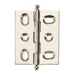 BH2A-PN-BALL solid brass inset cabinet hinge - Cliffside's BH2A hinge offers one of the cabinetmaking industry's tightest reveals. Designed for 3/4-inch inset doors, these solid brass hinges are extruded, rather than stamped, for extra durability. This 2-inch hinge features Cliffside's mirrored Polished Nickel finish, one of 15 available colors, and the ball-tip finial.