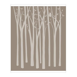 Elephants on the Wall - Birch Tree Silhouettes Wall Mural - Birch Tree Forest Wall Mural