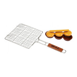 Bull BBQ - Bull Outdoor Stainless Mini Burger Grilling Basket - Our Stainless Mini Burger Grilling Basket with rosewood handles holds nine mini burgers.Stainless steel construction