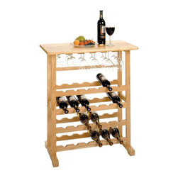 Winsome Wood - 24 Bottle Wood Wine Rack w/ Glass Holder - Display up to twenty-four bottles of your wine collection in this contemporary beech wood wine rack. Solid wood construction offers sturdy and stylish storage and display for your wine bottles and elegant glass stemware. Flat, spacious top offers additional display space and is perfect for serving. A quality wine rack with modern appeal. It's perfect for display and is versatile with serving space and glassware storage. * Stores up to 24 bottles. Hanging wine glass rack. Solid Beechwood construction. 35.75H x 31.5W x 16D in.