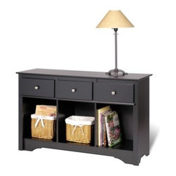 Prepac Living Room Console - Black - From the kitchen to the hallway or even in your bedroom, the Prepac Living Room Console – Black is going to make a positive impression no matter where it may end up. This appealing console has a body that's crafted from durable composite wood and covered with a deep, smooth black laminate. Three roomy storage compartments each sit below a pull-out drawer with a brushed nickel pull and metal guides. Gentle trim around the edges softens the appearance of this appealing traditional console.About Prepac ManufacturingPrepac is a successful designer and manufacturer of functional and stylish RTA (ready to assemble) home furniture. They have been manufacturing state-of-the-art home furnishings and storage products in the heart of the forest-rich West Coast since 1979.To ensure that customers receive the highest quality products, Prepac's design, engineering, production, testing and packaging are all performed in-house. Each component of every product is carefully engineered to be produced with minimal handling, without compromising quality, function and value. Prepac's state-of-the-art materials management system tracks every component from cutting through to packaged goods, inventory support, and fulfillment to final delivery.Most of Prepac's RTA products are made from a combination of engineered woods. Engineered Wood is a mixture of high quality hard and soft wood materials, which generally come from the surplus of original lumber processing. These materials are bonded together with a synthetic resin, in a process under high heat and pressure to make a very stable, environmentally friendly product. The result is dense, strong panels, which are then laminated with durable, attractive finishes.