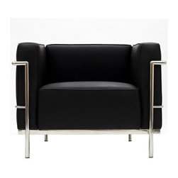 East End Imports - Le Corbusier LC3 Armchair in Genuine Black Leather - The Le Corbusier LC3 represents uncompromising quality with affordability you won't find anywhere else. Each piece is made to preserve the specifications of the original using modern day manufacturing techniques, so every surface is sleek and smooth. This exceptional piece of furniture provides you comfort and long lasting quality, the kind you deserve.