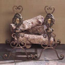 "Dessau Home - Tuscany Andirons - Set of 2 - Set of 2. Brass accent medallion. Made from iron and brass. Bronze color. Made in India. 22 in. W x 6 in. D x 22 in. HValue has always been an essential ingredient at Dessau Home. ""Essentials"" represents a collection of well-appointed yet affordable home furnishings with a unique traditional styling that appeals to most transitional and contemporary home decorating needs."