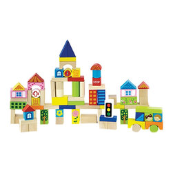 The Original Toy Company - The Original Toy Company Kids Children Play City Blocks - 75 Wooden blocks natural, painted & printed by hand. Retail packaged cardboard barrel with carrying handle. Ages 2 years plus. 75 Wooden blocks. Weighs approximately 6.00 pounds. Gender: Both.
