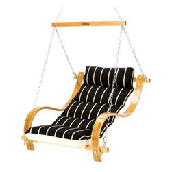 Hatteras Hammocks - Single Swing with Oak Arms - Classic Black Stripe - Clean lines and stately color combine in a strong, assertive pattern of simple sophistication offset by understated hints of causal. The curved white-oak swing arms, richly hued in earthy honey-gold, provide sharp counterpoint to the strict linearity and quintessentially formal color scheme, accentuating the muted undercurrent of easygoing abandon. Relaxation, beautifully refined.