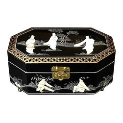 Oriental Unlimted - Hand-Painted Violetta Jewelry Box in Black Fi - Perfect for a unique gift or as a special treat for yourself. Hand-painted with exquisite hand carved Mother of Pearl design. Handcrafted by artisans in the Guangdong province of mainland China. With exquisite hand carved Mother of Pearl design. Employs classic Chinese finishing techniques. The compartment is lined with fine red felt with a removable felt ring tray. Brass hardware is clear lacquered to resist tarnish. Hand finished in a rich and clear Black lacquer. 12 in. W x 8 in. D x 4.5 in. H