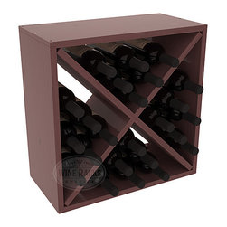 """Wine Racks America - 24 Bottle Wine Storage Cube in Ponderosa Pine, Walnut Stain + Satin Finish - A wine rack focused on flexibility; buy 1 or buy 100. Perfect for stacking, filling small spaces, and converting that """"underneath"""" space into wine storage. Mix and match finishes to illustrate your true wine-lover's spirit or contrast colors for a modern wine rack twist."""