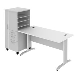 "BBF - Bush Sector 60"" Desk with File Locker in White - Bush - office Sets - SEC025LSWH - Bring everyone together in open work environments and have a portable place for coats files papers and supplies. Bush SECTOR Series Suite 25SLAC in White with 60""W x 60""D Rectangular Desk and 60""W Rectangular Work Surface plus 24""W LH Mobile Storage/File Locker let you spread out in style. Affordable workstation desks and work surfaces are easily reconfigurable. Metal-to-metal connections allow repeated attaching and detaching without joint fatigue. Includes two covered ports for cord and cable management. Four-gang USB hub allows quick connections for recharging phones or connecting peripherals. Go anywhere large lockable storage compartment includes convenient coat hook. Open work-in-progress trays with two adjustable shelves quickly organize papers and documents. Two box drawers for personal or office supplies. Secure lockable file drawer for letter- legal-and A4-size files. Easily moveable yet secure when positioned by two locking and two swivel casters. Attractive anodized Aluminum drawer pulls fit all decors. Straight-leg kit has raceway under desk front and back grommets and removable side leg panel to allow hiding of unsightly cords and cables. Rugged Diamond Coate top surface resists marking staining and abrasions. Includes Bush 10-year warranty. Includes Bush 10-year warranty."