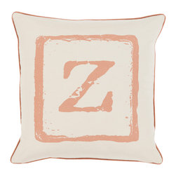 """Surya - Surya BKB-030 Pillow, 18"""" x 18"""", Poly Fiber Filler - Add a personal stamp to your space with the inclusion of this utterly perfect pillow. Hand made in India of 100% cotton, the boldly printed initial in smooth coloring effortlessly permits for a private touch while simultaneously embodying divine design from room to room within any home decor."""
